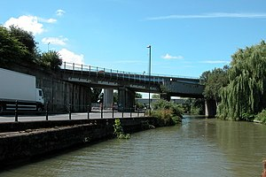 Barton Hill, Bristol - Road and rail bridges crossing the Bristol Harbour feeder canal, Barton Hill, Bristol