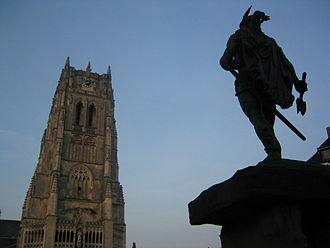 History of Belgian Limburg - A statue of Ambiorix faces a medieval basilica, in the main square of modern Tongeren.