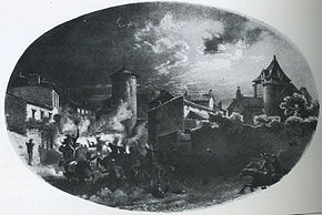 Black and white print shows a town at night with horses and men galloping and falling.