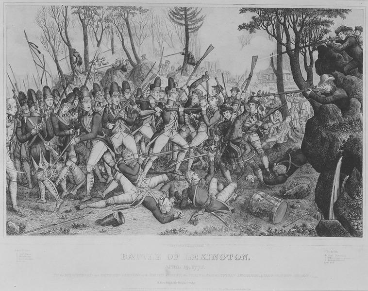 File:Battle of Lexington. April 19, 1775. Copy of print by John Baker, 1832., 1931 - 1932 - NARA - 532906.tif