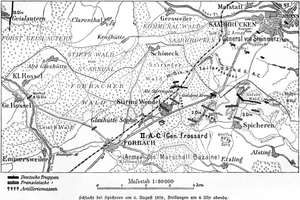 Battle of Spicheren - French and German positions at 6 PM on 6 August 1870
