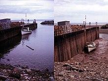 La Golfo de Fundy dum alta kaj malalta tajdoj