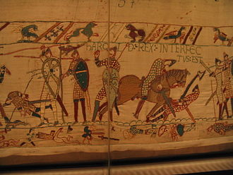 "Wessex - The Bayeux Tapestry, depicting the death of King Harold II, October 14, 1066. At left can be seen his ""Dragon Standard"""