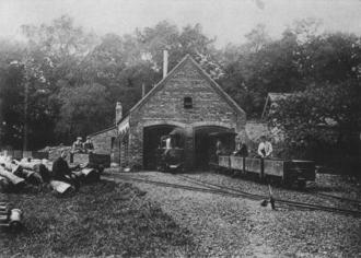 Eaton Hall Railway - The Belgrave engine shed on the Eaton Hall Railway c.1898.
