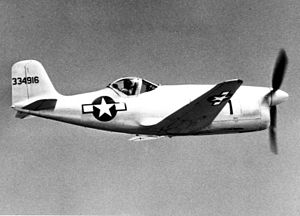 Bell XP-77 in flight (SN 43-34916). This aircraft was destroyed in a crash on Oct. 22, 1944 061024-F-1234P-048.jpg