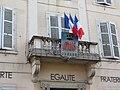 Belleville (Rhône) - Balcon et blason ancienne mairie (août 2018).jpg