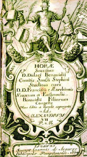 Diego de Benavides, 8th Count of Santisteban - Diego de Benavides, Horae succisiuae siue Elucubrationes, title page of the 1664 edition