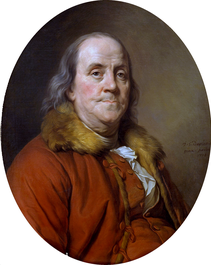 Joseph-Siffred Duplessis portrait of Benjamin Franklin used on the $100 bill from 1929 until 1996.