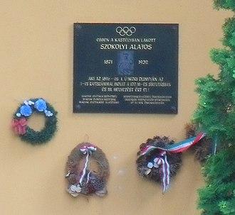 Alajos Szokolyi - Memorial plaque on the Szokolyi mansion