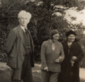 Bertrand, Dora Russell and Lucy Mary Silcox by Lady Ottoline Morrell 1928.png