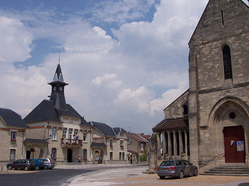 Central place of Betheny, Marne (Champagne), France, with the church and the town hall