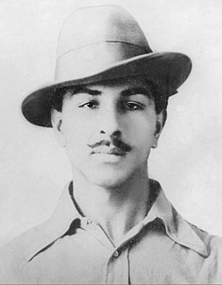 Bhagat Singh, dressed in western attire to avoid recognition and escape from Lahore to Calcutta