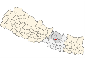 Bhaktapur District i Bagmati Zone (grå) i Central Development Region (grå + lysegrå)