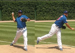 Carlos Zambrano - Zambrano warms up in August 2008 in the Wrigley Field bullpen before the Cubs defeated the Pittsburgh Pirates.