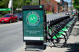 Cycling in Toronto - A Bike Share Toronto rental kiosk. The bicycle sharing system was launched on May 2011.