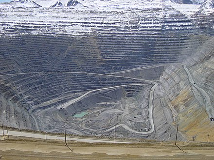 The Bingham Canyon Mine of Rio Tinto's subsidiary, Kennecott Utah Copper. Bingham Canyon April 2005.jpg