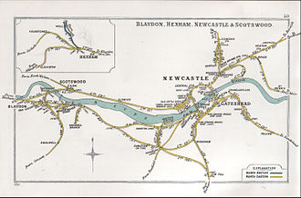 Hexham railway station - A 1911 Railway Clearing House Junction Diagram showing (upper left) railways in the vicinity of Hexham