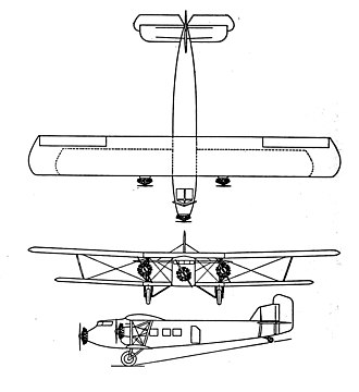 Boeing 80 - Boeing Model 80 3-view drawing from Aero Digest September 1928