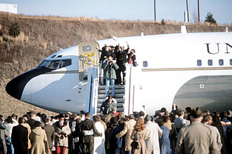 Iran–United States relations - Families wait for the former hostages to disembark the plane.