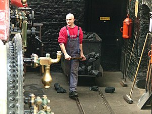 "Fireman (steam engine) - A boilerman, sometimes called a ""fireman"" or ""stoker"""
