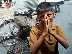 Boy begging in Agra