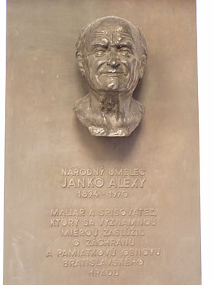 Janko Alexy - Memorial plaque in the Bratislava Castle