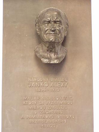 Janko Alexy - Memorial plaque in the Bratislava Castle