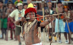 A Brazilian tribesman holding a bow and arrow
