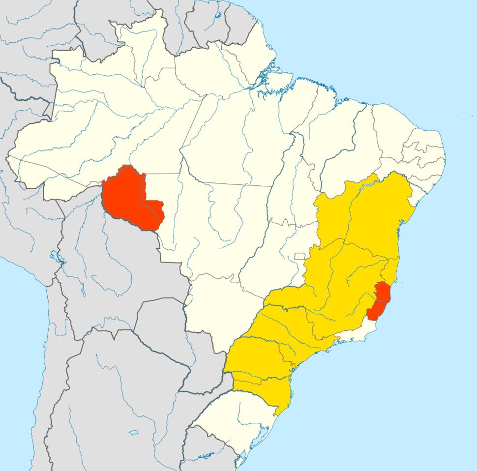 Brazilian coffee growing regions (arabica and robusta)