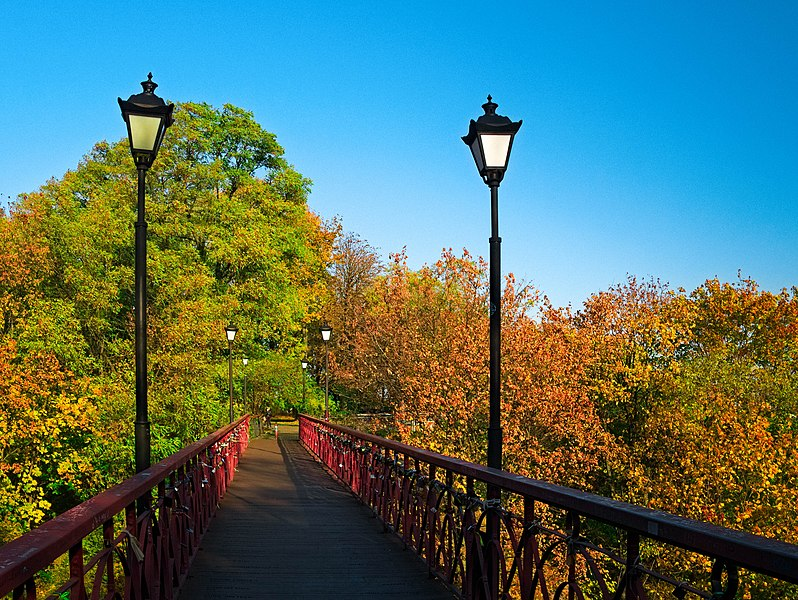 """The """"Bridge of Lovers"""" in Kiev (connecting City Park and Khreshchatyi Park) in the autumn."""