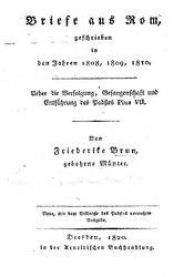 Briefe aus Rom, geschrieben in den Jahren 1808, 1809, 1810.