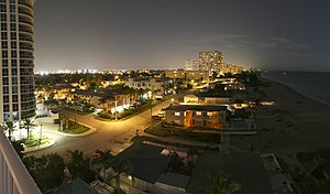 Pompano Beach, Florida - Pompano Beach's nighttime skyline viewed from Briny Avenue