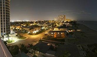 Pompano Beach, Florida - Pompano Beach's nighttime skyline viewed from Briny Avenue