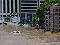Brisbane River Town Reach Riverwalk in flood from Story Bridge Fortitude Valley P1090890.jpg
