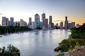 English: Brisbane as seen from Kangaroo Point.
