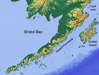 easternmost arm of the Bering Sea, at 57° to 59° North 157° to 162° West in Southwest Alaska; 400 km long, 290 km, wide at its mouth; rivers flowing into it include the Cinder, Egegik, Igushik, Kvichak, Meshik, Nushagak, Naknek, Togiak, and Ugashik