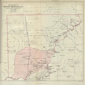 Bechuanaland Protectorate - An 1887 map showing the Crown colony of Bechuanaland (shaded pink) and the Bechuanaland Protectorate (pink border). This was prior to the extension northward to include Ngamiland in 1890