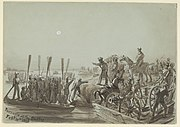 British troops crossing the Sutlej (Punjab) in boats. 10 February 1846