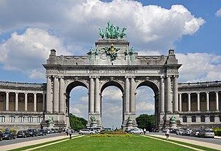 Arcade du Cinquantenaire Triumphal arch in Brussels, Belgium