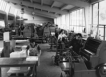 Black and white photgraph of printing works in Germany