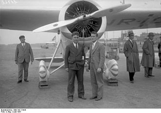 Wiley Post - Wiley Post with Harold Gatty in Germany, 1931