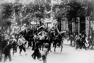 Central Powers - German cavalry entering Warsaw in 1915.
