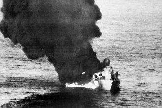 Libyan Navy - Burning Libyan corvette, 1986