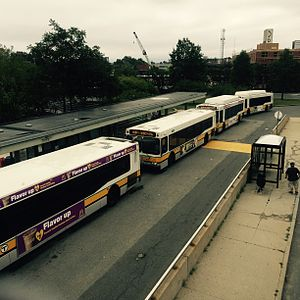 JFK/UMass (MBTA station) - JFK/UMass is often used as the northern terminus of replacement bus service during service disruptions on either Red Line branch. Here, buses line up at the station during planned track work on the Braintree Branch.