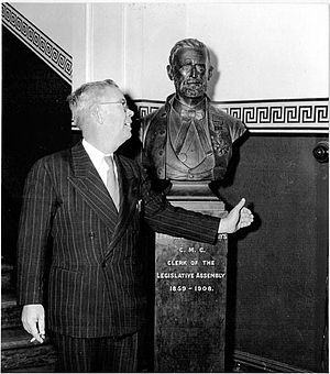 Lewis Adolphus Bernays - Bust of Lewis Adolphus Bernays CMG, Clerk of the Legislative Assembly 1859 to 1908, at the Opening of Queensland Parliament, 1953