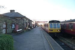 Butterley railway station, Derbyshire, England -train at platform-19Jan2014 (3).jpg