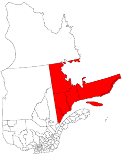 Map o Côte-Nord in relation tae Quebec.