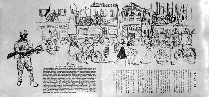 COLLECTIE TROPENMUSEUM Schets van de Japanse intocht in Batavia zoals de Japanners het zich voorstelden TMnr 10001766