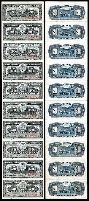 Cuban peso - Image: CUB 53a El Banco Espanol de la Isla de Cuba 20 Centavos (1897)