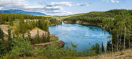 The Yukon River at Schwatka Lake and the entry to Miles Canyon